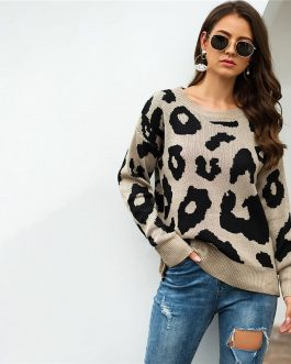 Leopard Print Streetwear Round Neck Long Sleeve Casual Sweater