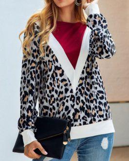 Leopard Print Sweatshirt Long Sleeves Pullover