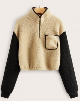 Long Sleeve Two Tone Zipper Sweatshirt