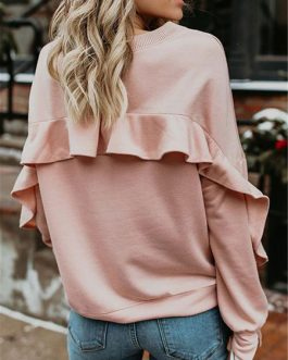 Long Sleeves Cascading Ruffles Sweatshirt