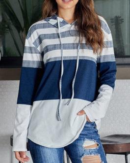 Long Sleeves Color Block Hooded Outerwear Sweatshirt