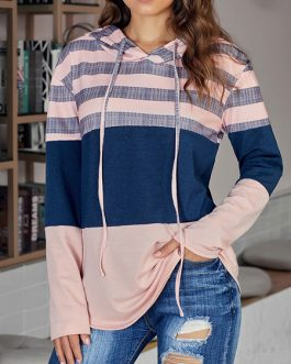 Long Sleeves Color Block Hooded Outerwear Sweatshirt