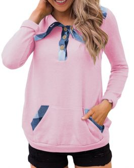 Long Sleeves Color Block Polyester Outerwear Sweatshirt