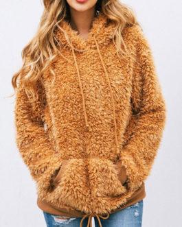 Long Sleeves Drawstring Hooded Sweatshirt With Pockets
