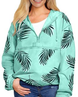 Long Sleeves Floral Print Hooded Outerwear Sweatshirt