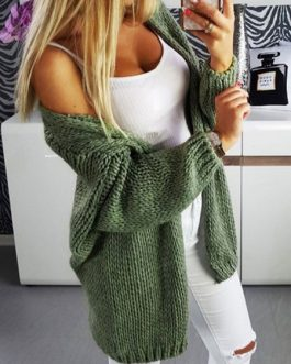Long Sleeves Knitted Ovesized Sweaters Cardigans