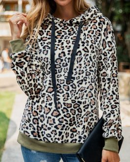 Long Sleeves Leopard Print Cotton Blend Hooded Sweatshirt