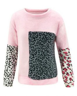 Long Sleeves Leopard Print Sweatshirt