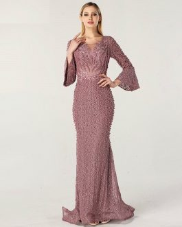 Long Sleeves Pearls Crystal Lace Evening Gowns
