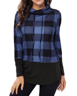 Long Sleeves Plaid Outerwear Hoodies Sweatshirts