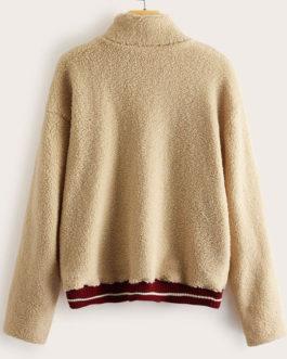 Long Sleeves Stripes Zipper Sweatshirt