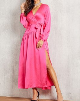 V Neck High Low Design Long Sleeves Polyester Maxi Dresses