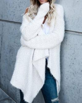 Long Sleeves V Neck Irregular Sweaters Cardigans