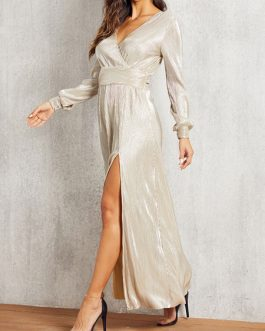 Long Sleeves V Neck High Low Design Polyester Maxi Dresses