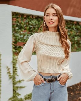 Mock-neck Mixed Knit Bishop Sleeve Solid Casual Crop Sweater
