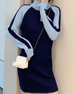Modern Two Tone Zipper High Collar Long Sleeves Knitted Dress