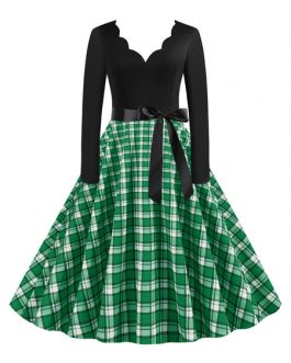 Neckline Long Sleeves Plaid Swing Retro Dress