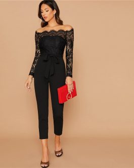 Off Shoulder Lace Bodice Self Belted Party Glamorous Jumpsuit