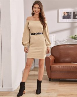 Off Shoulder Lantern Sleeve Solid Knitted  Sweater Dress