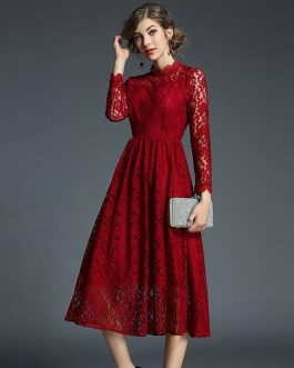 Office Lady A-Line Long Party Dress