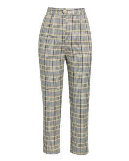 Office ladies plaid Casual street wear pants