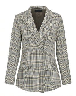 Office ladies plaid double breasted Casual streetwear blazer