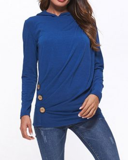 Outerwear Long Sleeves Buttons Hoodies Sweatshirts