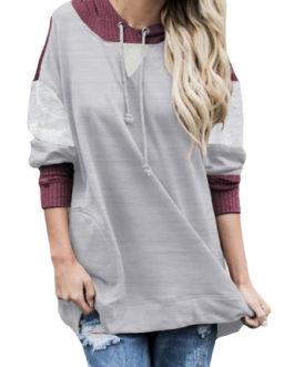 Outerwear Long Sleeves Color Block Hoodies Sweatshirt