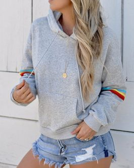 Outerwear Long Sleeves Casual Hooded Sweatshirt