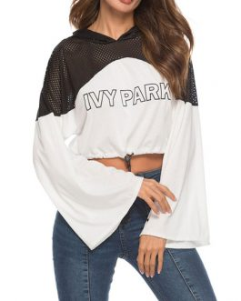 Outerwear Long Sleeves Letters Print Cut Out Cotton Hooded Sweatshirt