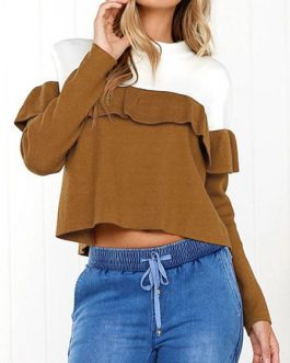Outerwear Long Sleeves Two Tone Cascading Ruffles Sweatshirt