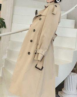 Outerwear Turndown Collar Buttons Casual Woolen Coat