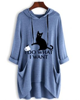 Oversized Cat Ears Long Sleeves Pockets I Do What I Want Hooded Sweatshirt