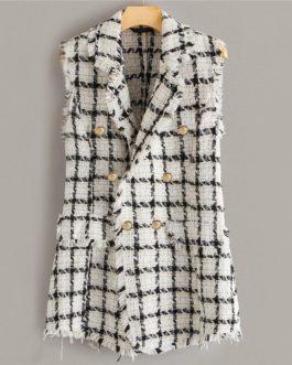 Plaid Notch Collar Frayed Edge Tweed Vest Double Button Blazer