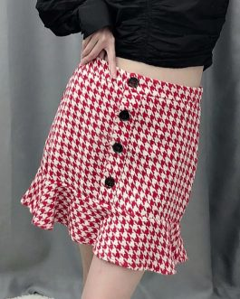 Plaid Tweed Button Ruffled Casual Short Party Skirt