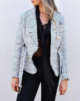 Plaid V-neck double breasted button belt ladies blazer