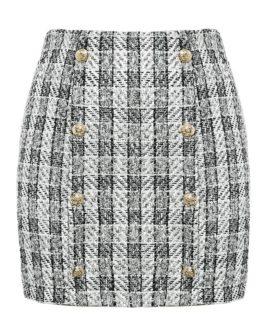 Plaid tweed Casual street wear office ladies Skirt