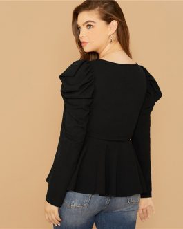 Plus Size Gigot Sleeve Square Neck Office Lady Peplum Top