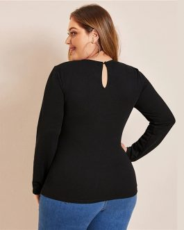 Plus Size Keyhole Back Laser Cut Front Top and Blouses