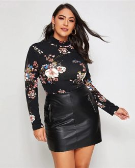 Plus Size  Mock Neck Floral Print Office Lady T-shirts