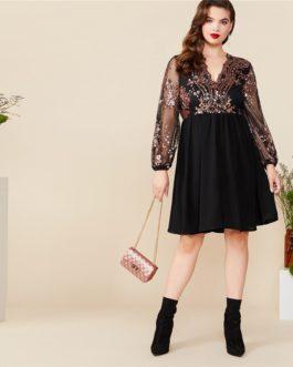 Plus Size V Neck Floral Contrast Sequin Mesh Sleeve Flare Dress