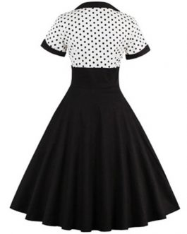 Polka Dot Layered Short Sleeves Square Neck Mini Dress