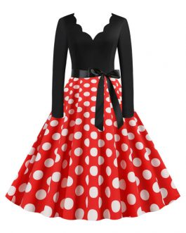 Polka Dot Scalloped Neckline Long Sleeves Swing Vintage Dress