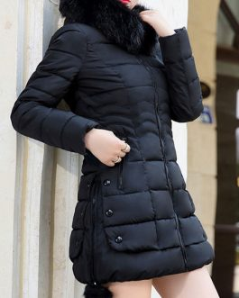 Pom Poms Hooded Zipper Long Sleeves Casual Normal Puffer Coats Outerwear