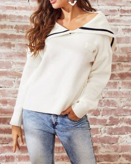 Pullovers Jewel Neck Long Sleeves Acrylic Sweaters
