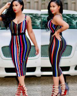Rainbow Stripe Spaghetti Straps Bodycon Dress