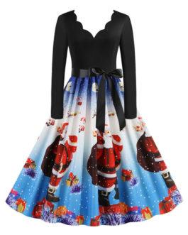 Christmas Vintage 1950s U-Neck Sleeveless Rockabilly Dress