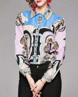 Retro Geometric Buttons Long Sleeves Tops