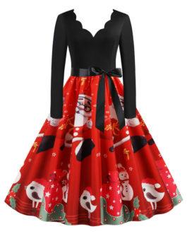 Retro 1950s Jewel Neck Long Sleeves Christmas Pattern Swing Dress
