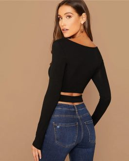 Scoop Neck Long Sleeve Sexy Stretchy Slim Fit Tshirts